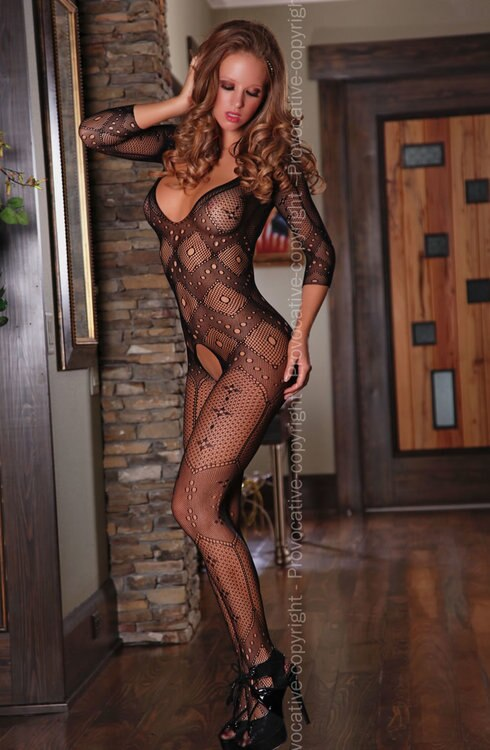 Long Sleeves Open Crotch Bodystocking